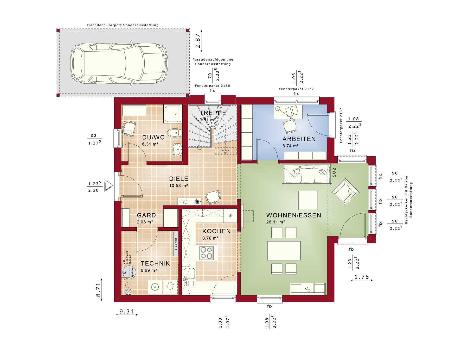 Haus SOLUTION 134 V7 Grundriss EG von Living Haus