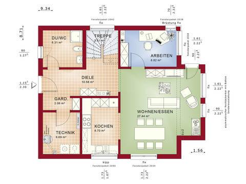 Haus SOLUTION 134 V9 Grundriss EG von Living Haus