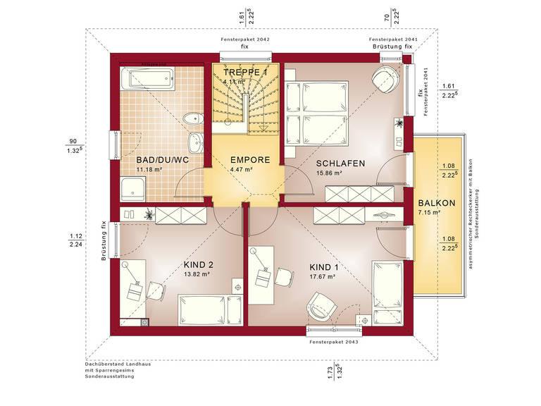 Haus SOLUTION 134 V9 Grundriss OG von Living Haus