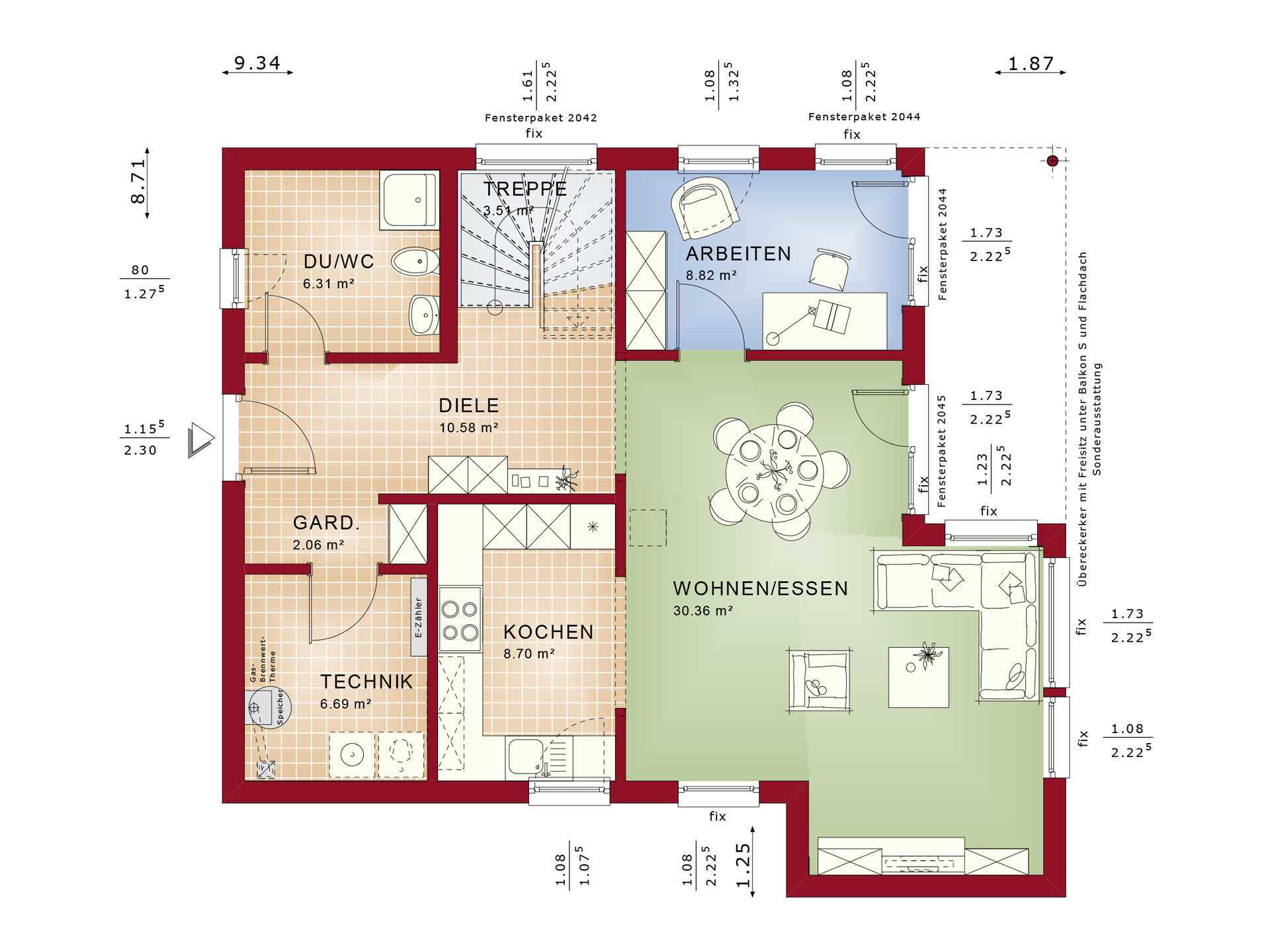 Haus SOLUTION 134 V10 Grundriss EG von Living Haus