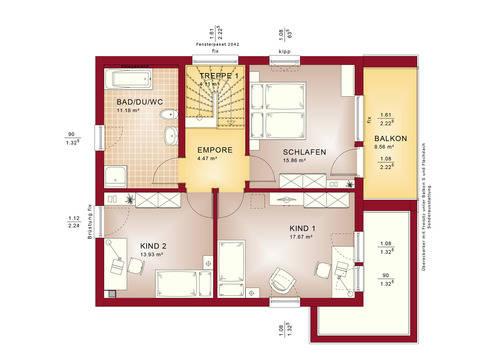 Haus SOLUTION 134 V10 Grundriss OG von Living Haus