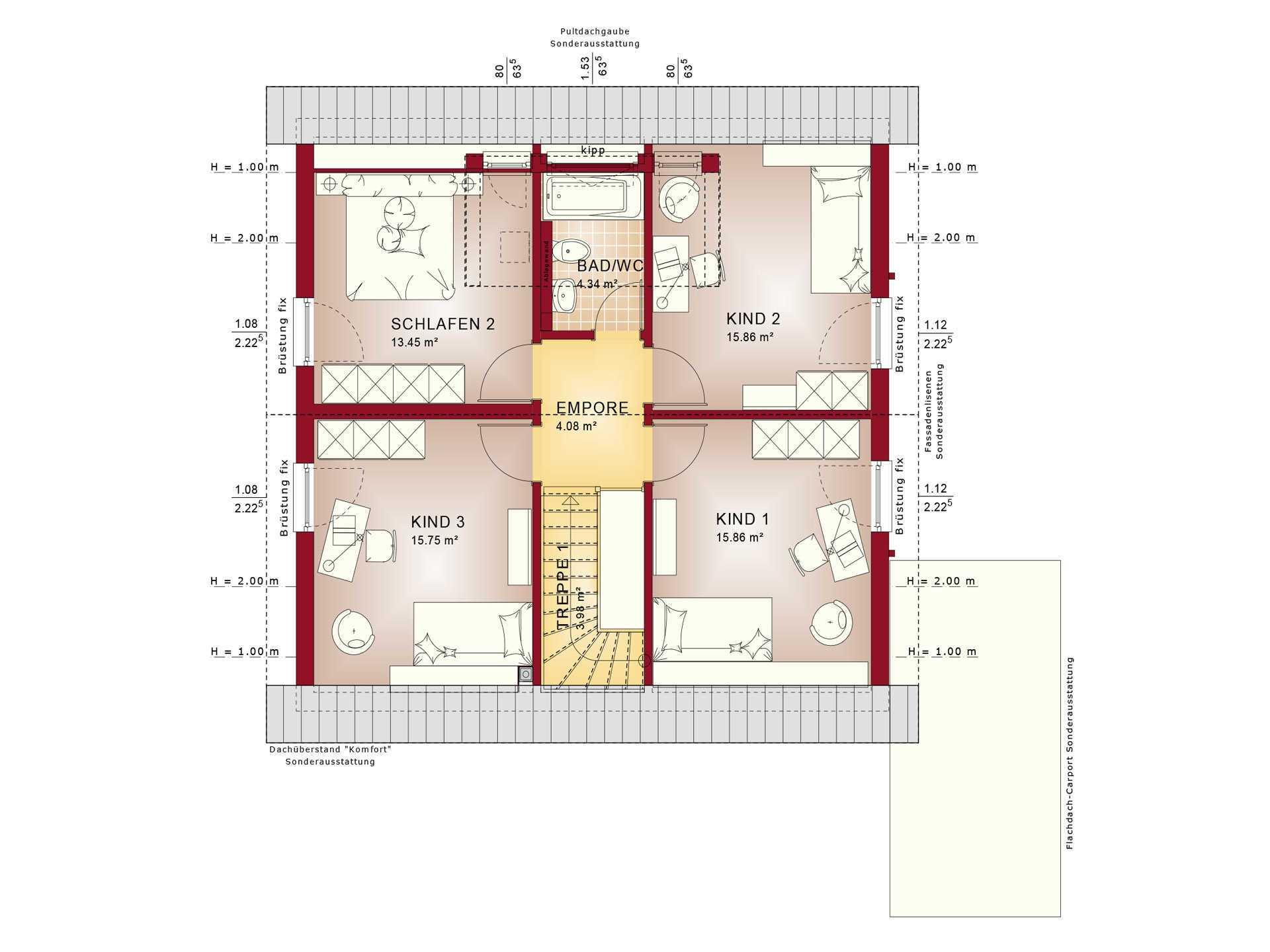 Haus SOLUTION 151 V3 Grundriss DG von Living Haus