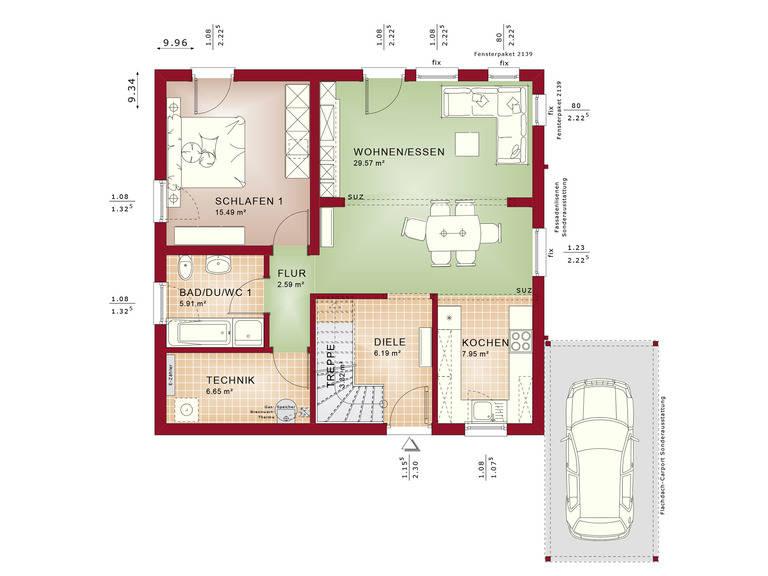 Haus SOLUTION 151 V3 Grundriss EG von Living Haus