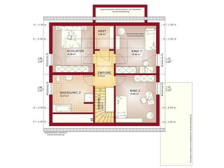 Haus SOLUTION 151 V4 Grundriss DG von Living Haus