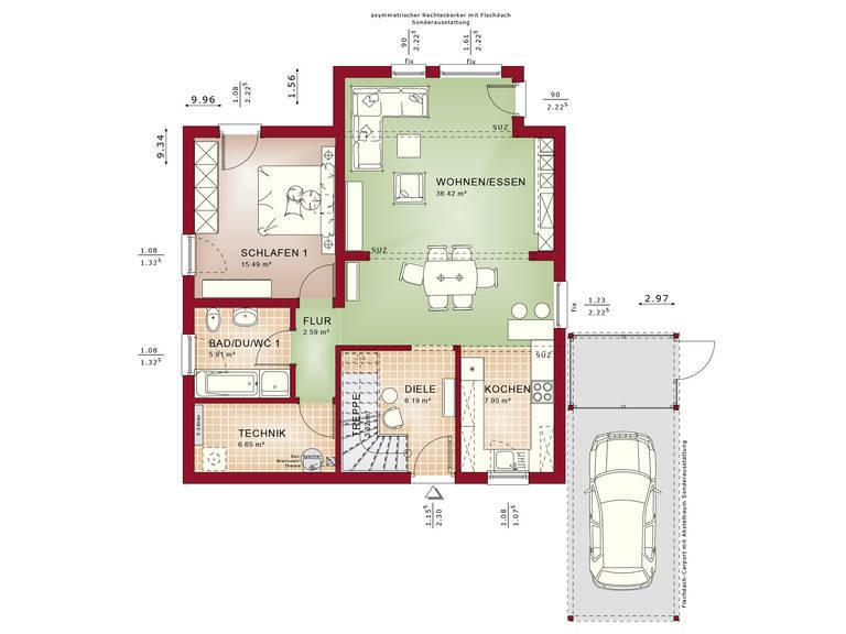 Haus SOLUTION 151 V4 Grundriss EG von Living Haus