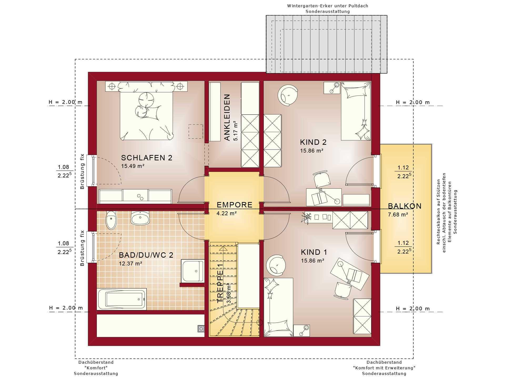 Haus SOLUTION 151 V6 Grundriss DG von Living Haus
