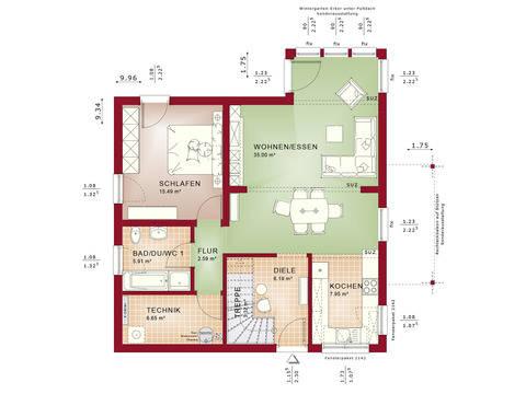 Haus SOLUTION 151 V6 Grundriss EG von Living Haus