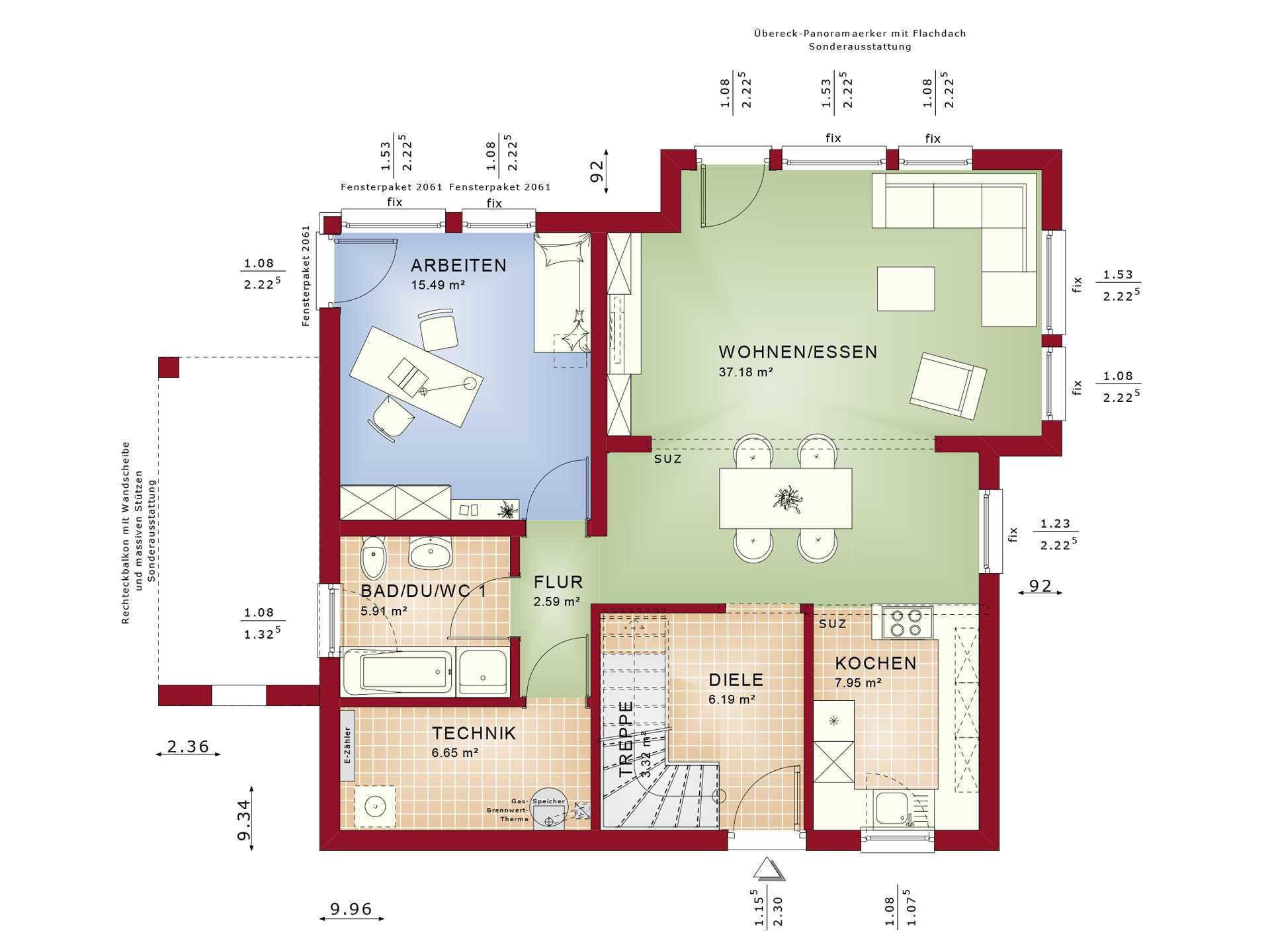 Haus SOLUTION 151 V9 Grundriss EG von Living Haus