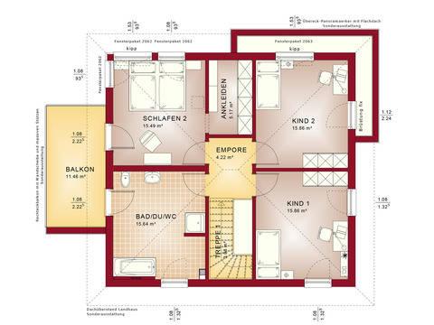 Haus SOLUTION 151 V9 Grundriss OG von Living Haus