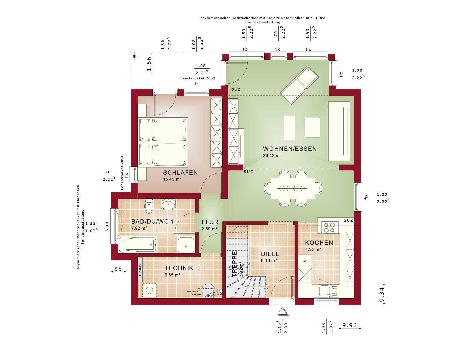 Haus SOLUTION 151 V10 Grundriss EG von Living Haus