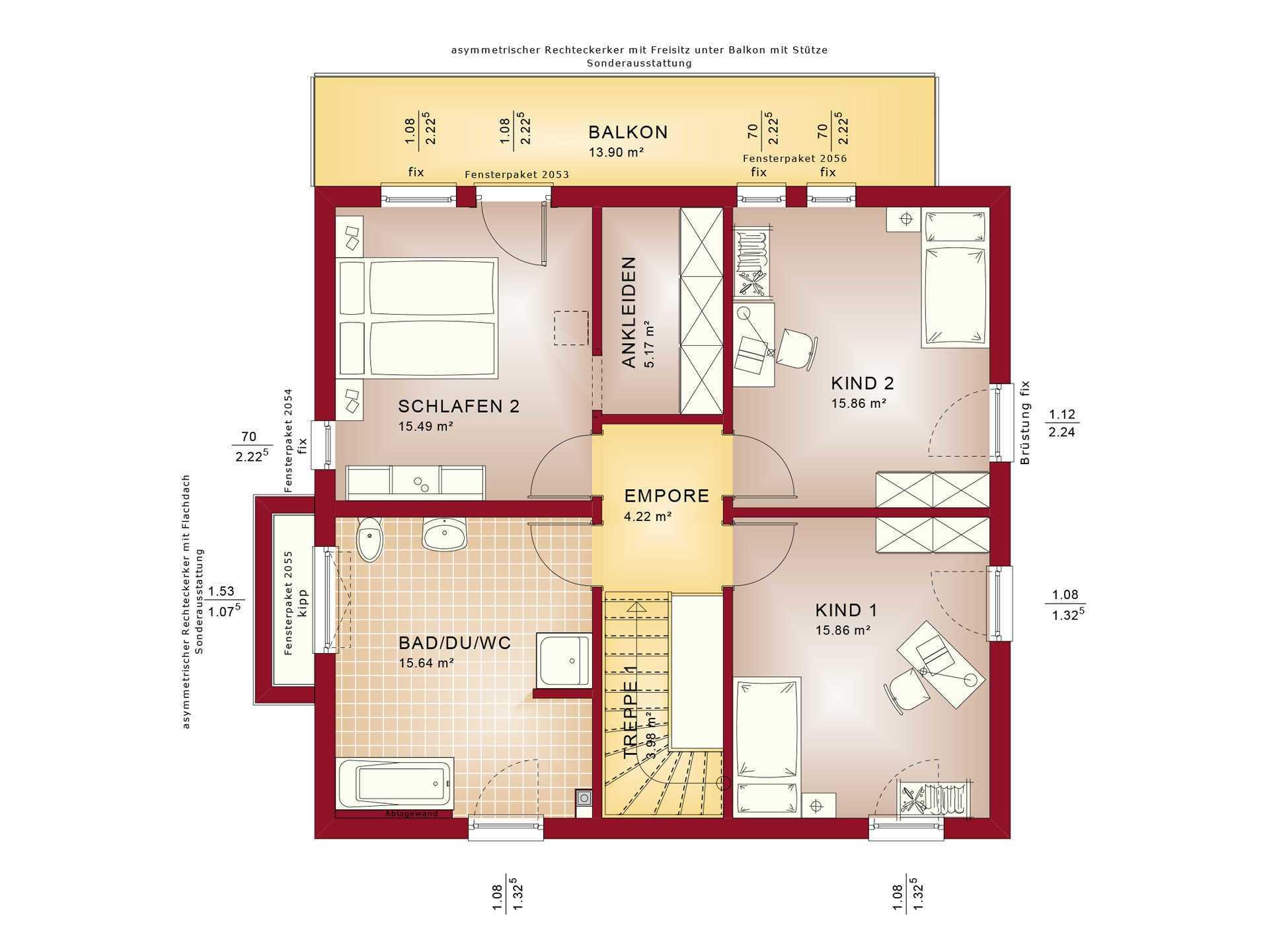 Haus SOLUTION 151 V10 Grundriss OG von Living Haus
