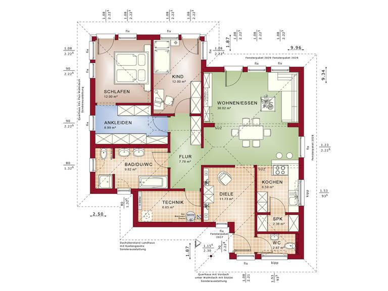 Haus SOLUTION 78 V7 Grundriss EG von Living Haus