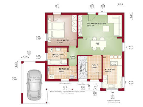 Haus SOLUTION 78 V10 Grundriss EG von Living Haus