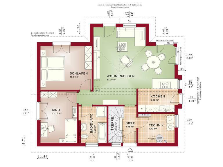 Haus SOLUTION 87 V2 Grundriss EG von Living Haus