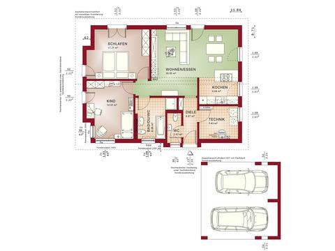 Haus SOLUTION 87 V3 Grundriss EG von Living Haus