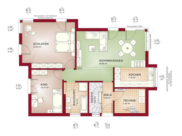 Haus SOLUTION 87 V7 Grundriss EG von Living Haus
