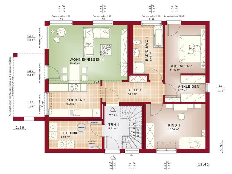 Haus SOLUTION 204 V2 Grundriss EG von Living Haus