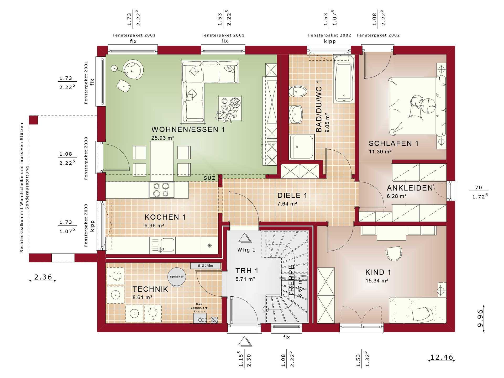 Haus SOLUTION 204-v2 Grundriss EG von Living Haus