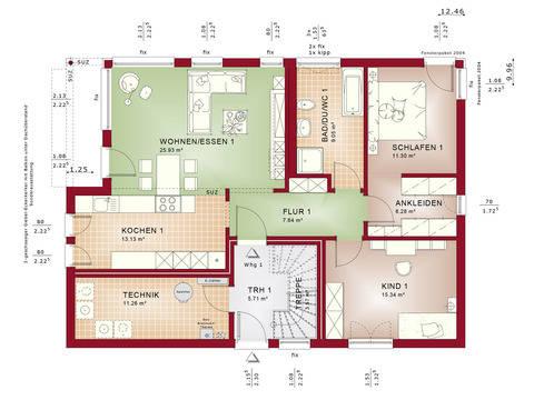 Haus SOLUTION 204 V4 Grundriss EG von Living Haus