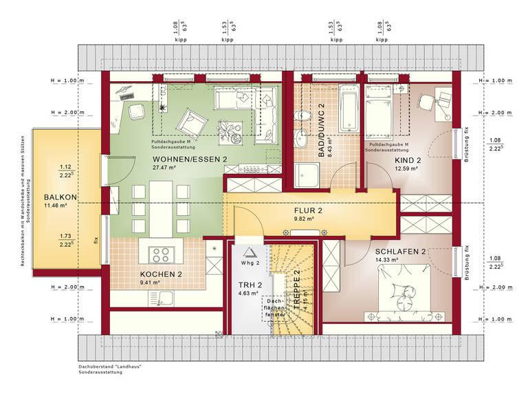 Haus SOLUTION 204 V7 Grundriss DG von Living Haus