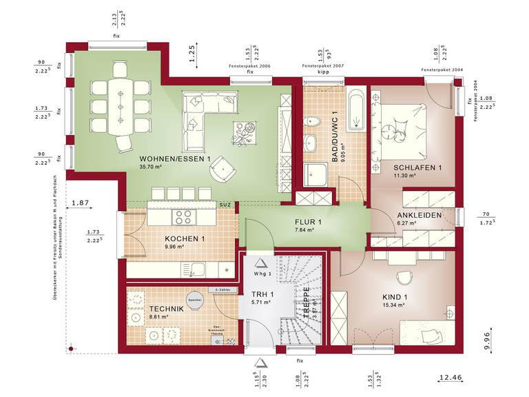 Haus SOLUTION 204 V7 Grundriss EG von Living Haus