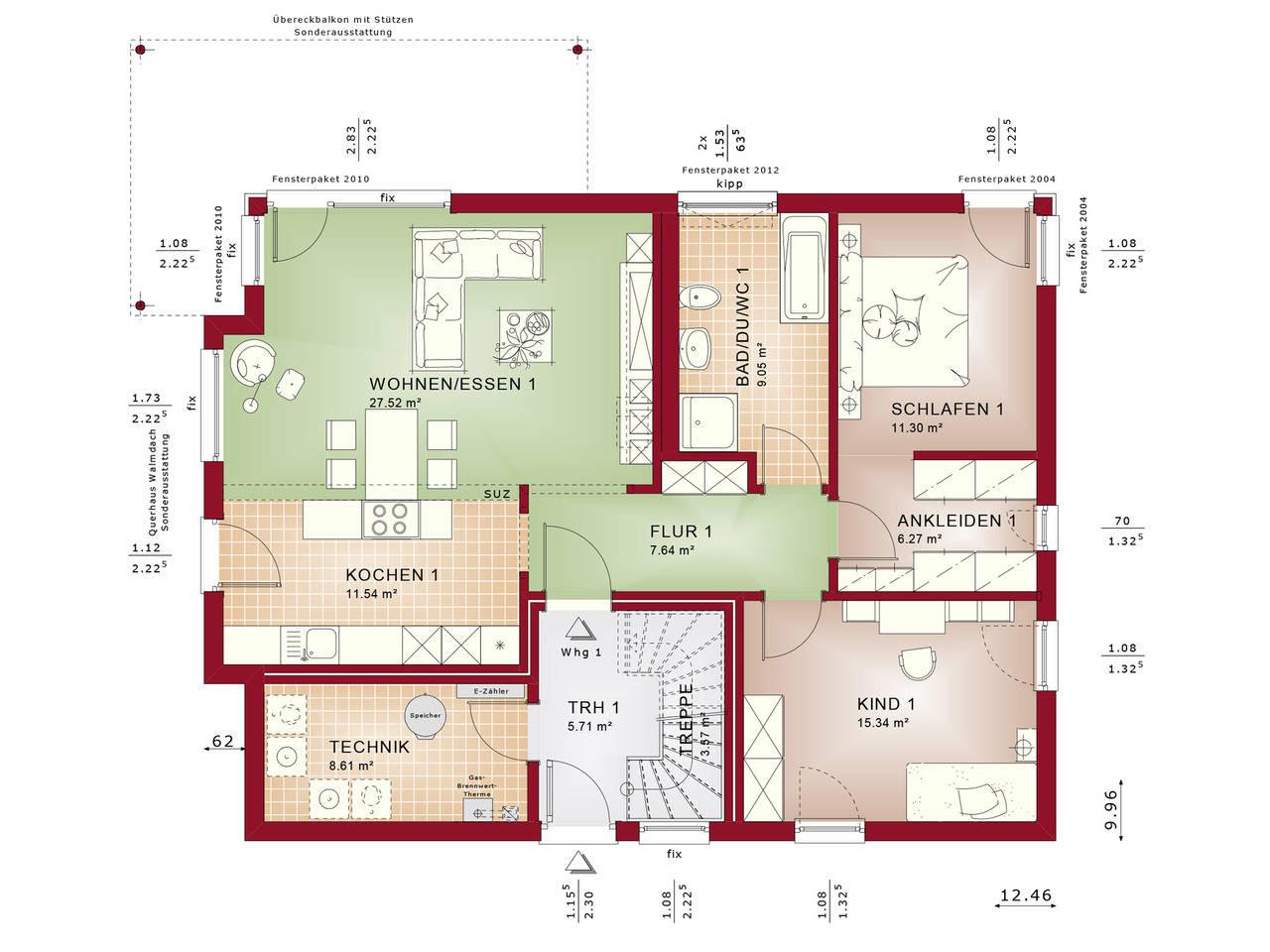 Haus SOLUTION 204 V8 Grundriss EG von Living Haus