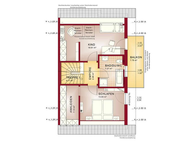 Haus SOLUTION 126 L V2 Grundriss DG von Living Haus