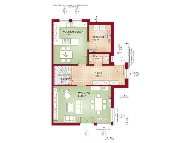 Haus SOLUTION 126 L V2 Grundriss EG von Living Haus