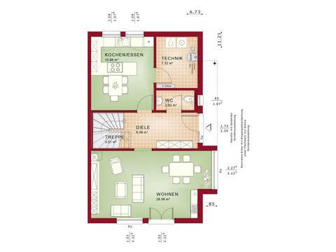 Haus SOLUTION 126 L V3 Grundriss EG von Living Haus