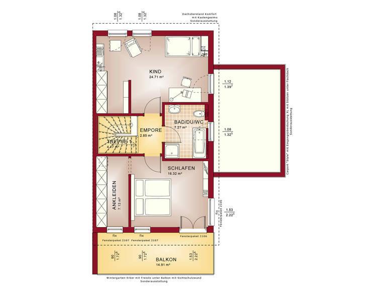 Haus SOLUTION 126 L V5 Grundriss DG von Living Haus
