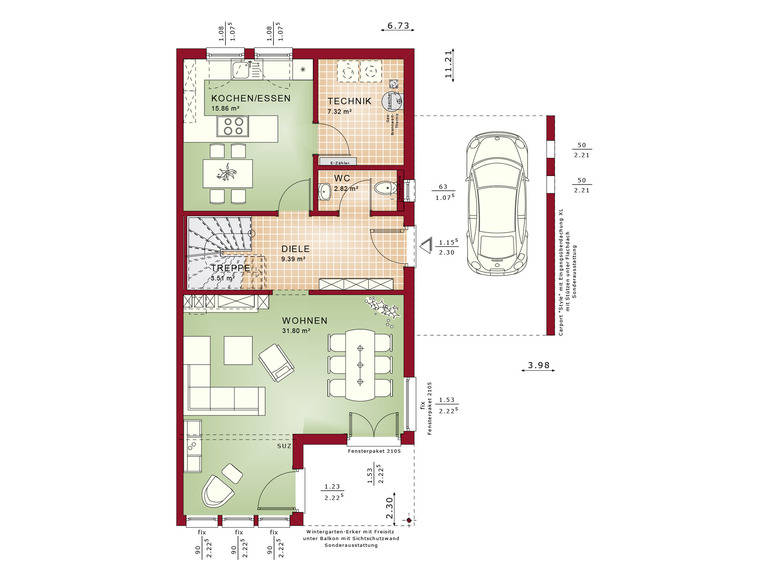 Haus SOLUTION 126 L V5 Grundriss EG von Living Haus