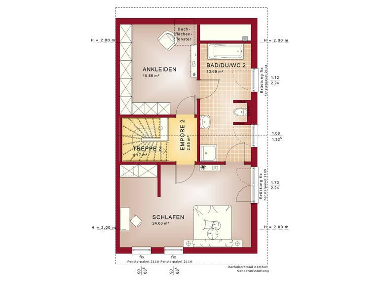 Haus SOLUTION 126 XL V5 Grundriss DG von Living Haus