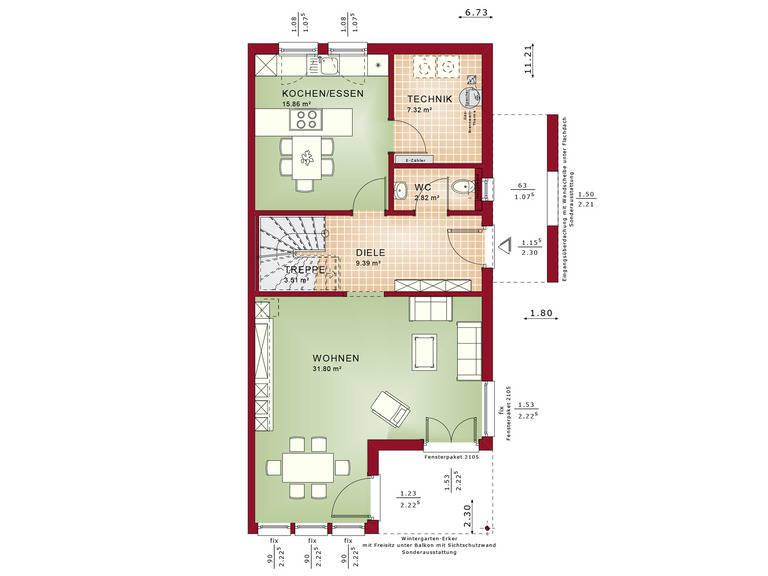 Haus SOLUTION 126 XL V5 Grundriss EG von Living Haus