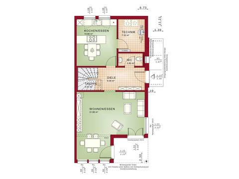 Haus SOLUTION 126 XL V6 Grundriss EG von Living Haus