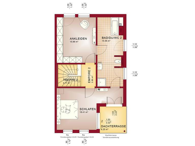 Haus SOLUTION 126 XL V6 Grundriss OG2 von Living Haus