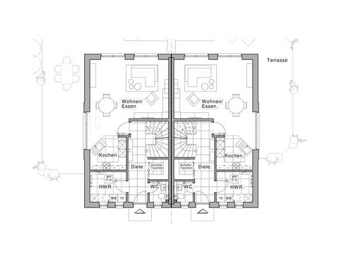 Doppelhaus Maxime 1000 D Grundriss EG von Viebrockhaus