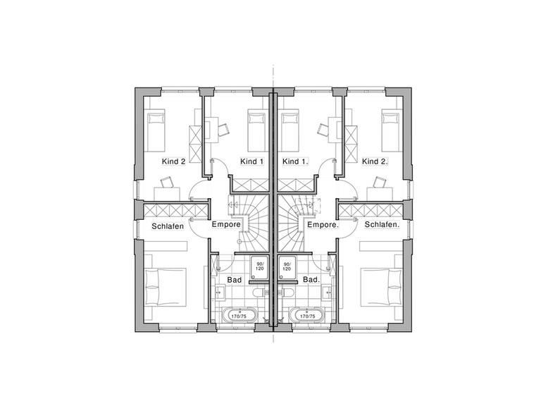Doppelhaus Maxime 1000 D Grundriss OG von Viebrockhaus