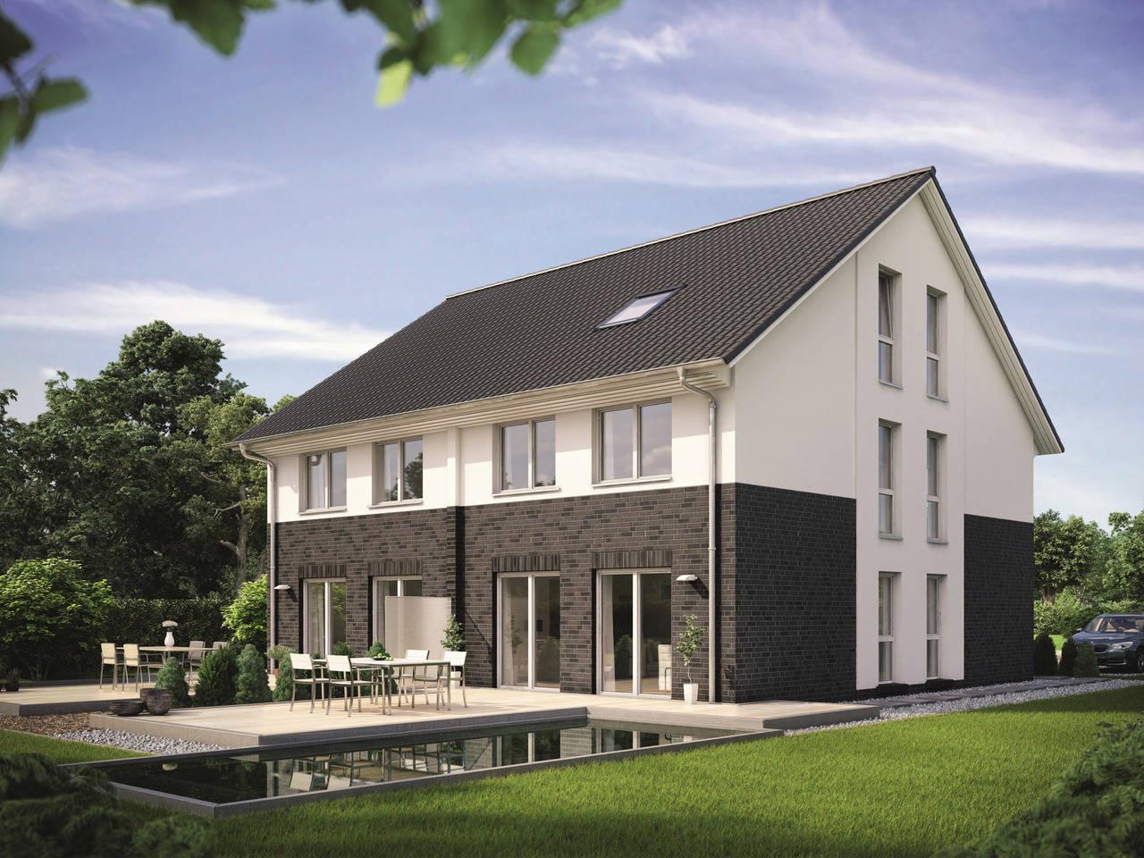 Doppelhaus Maxime 1000 D Gartenansicht von Viebrockhaus
