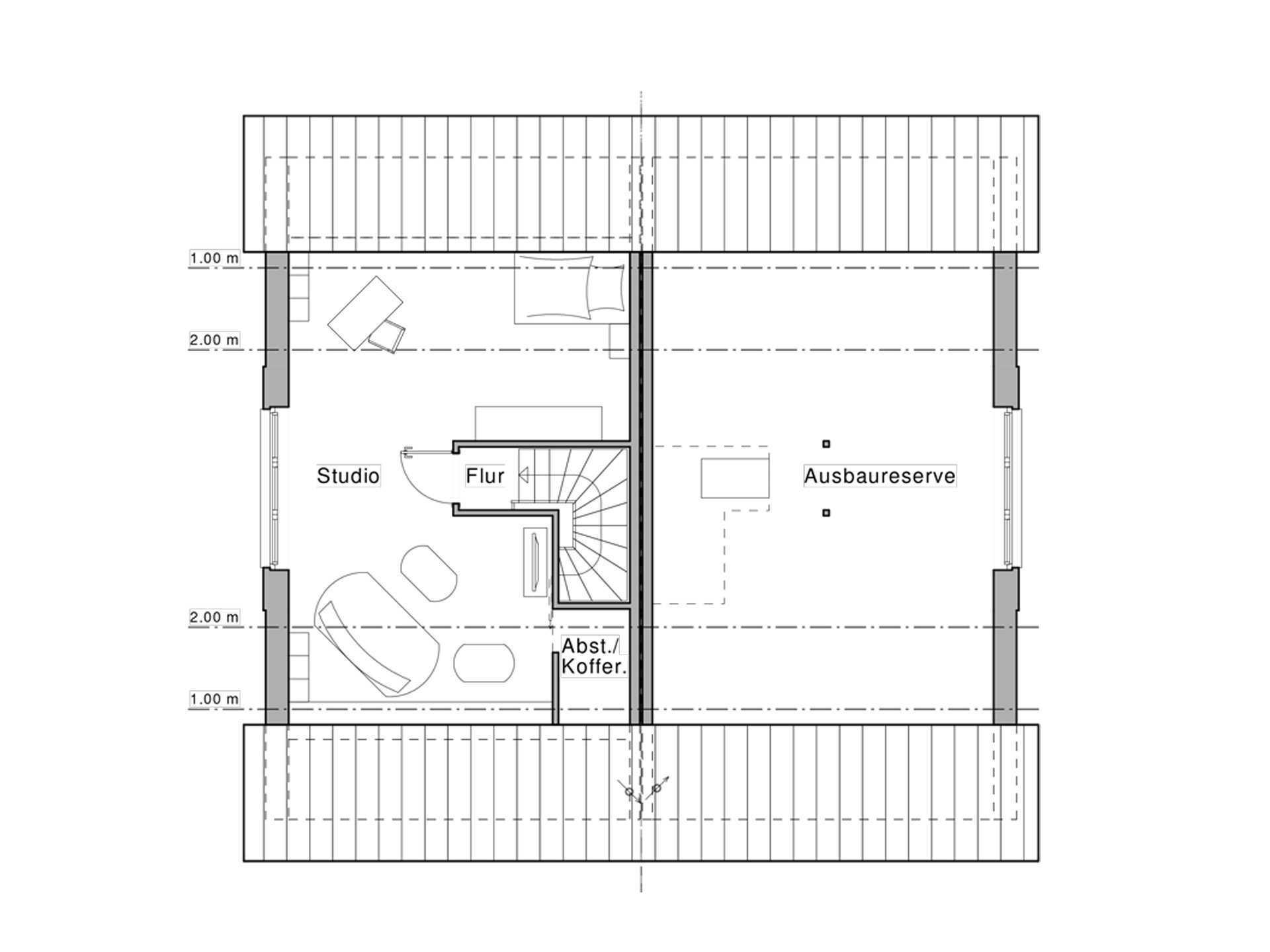 Doppelhaus Maxime 1000 D WOHNIDEE-Haus Grundriss DG