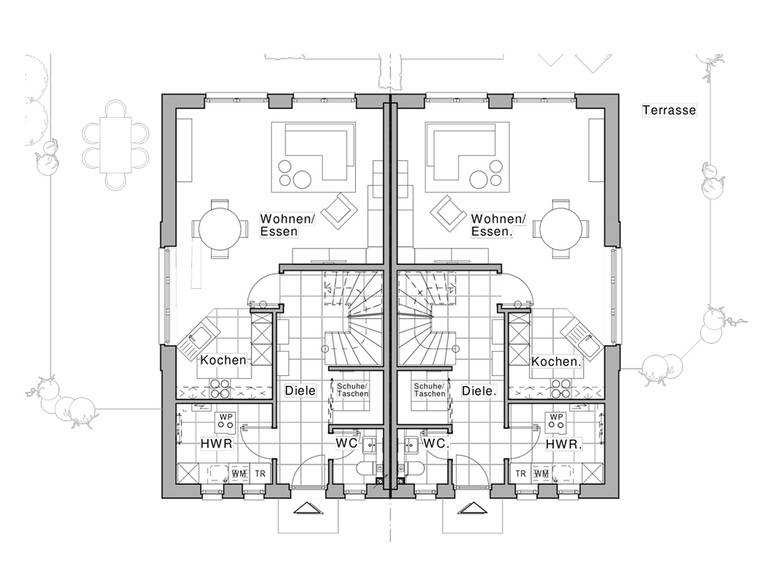 Doppelhaus Maxime 1000 D WOHNIDEE-Haus Grundriss EG