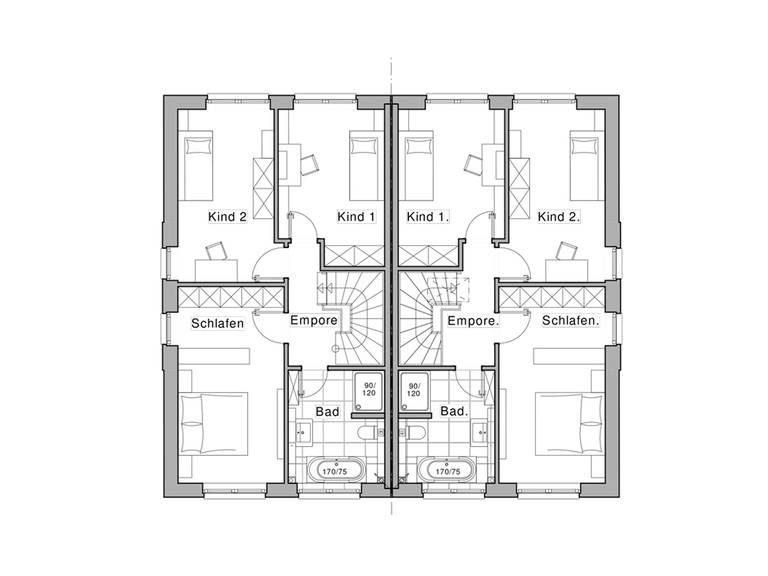 Doppelhaus Maxime 1000 D WOHNIDEE-Haus Grundriss OG