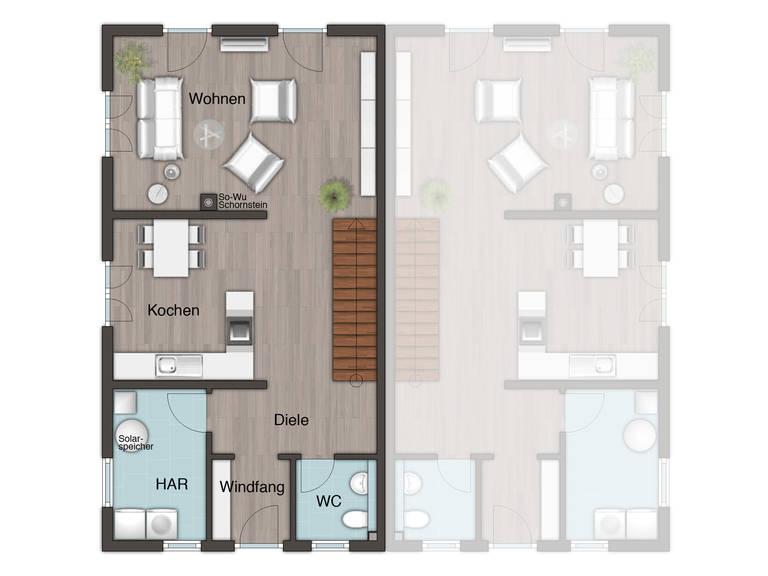 Doppelhaus Aura 125 Grundriss EG