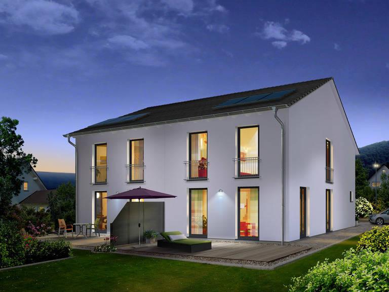 Doppelhaus Aura 125 Elegance bei Nacht