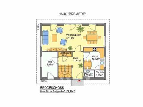 Haus Premiere - ideal-heim-bau Grundriss EG