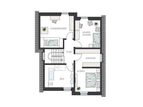Designerhaus ProStyle 143 mit Pultdach Grundriss DG von ProHaus