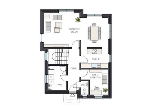 Designerhaus ProStyle 143 mit Pultdach Grundriss EG von ProHaus