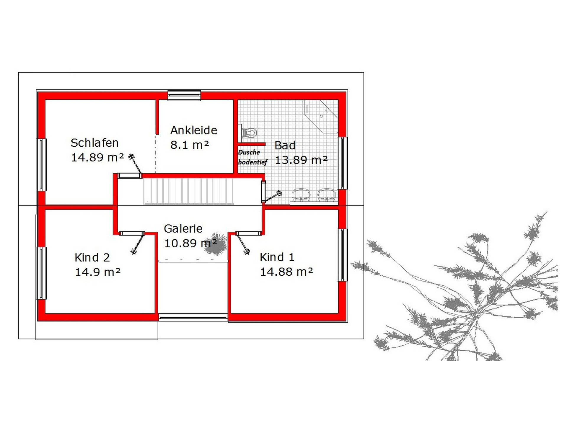 Grundriss Einfamilienhaus 165 von KMT-Massivhaus