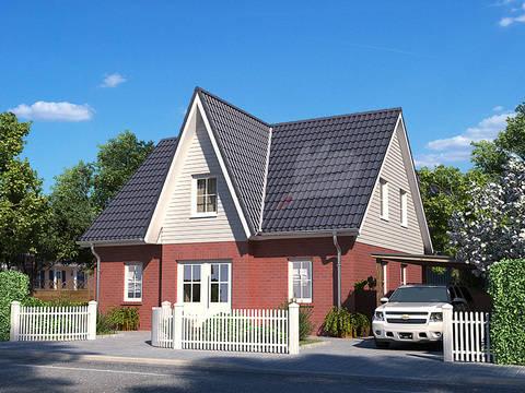 Straßenansicht Einfamilienhaus Birke 136 von Baufuchs Massivhaus