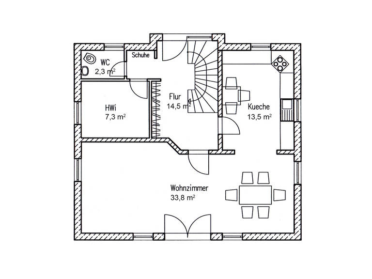 Einfamilienhaus Birke 136 Grundriss EG von Baufuchs Massivhaus
