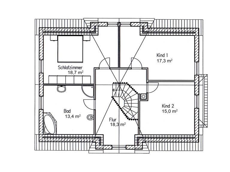 Einfamilienhaus Birke 170 Grundriss DG von Baufuchs Massivhaus